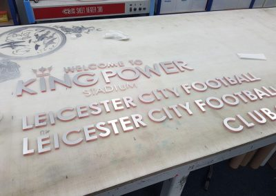 Stainless steel lettering prior to dispatch