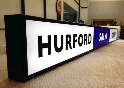 LED Illuminated fascia sign being tested before dispatch
