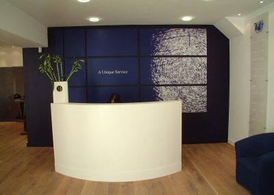 Reception desk and wall prints