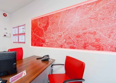 Printed wall map panel, halo lit
