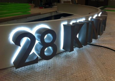 3d lettering with a halo glow