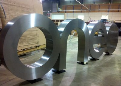 free standing stainless steel logo