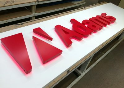 Halo glow 3d lettering on a metal fascia