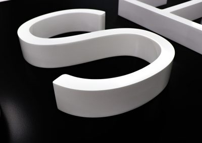 3d letter in 20mm thick white acrylic