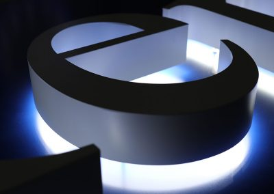 3d letters with halo glow